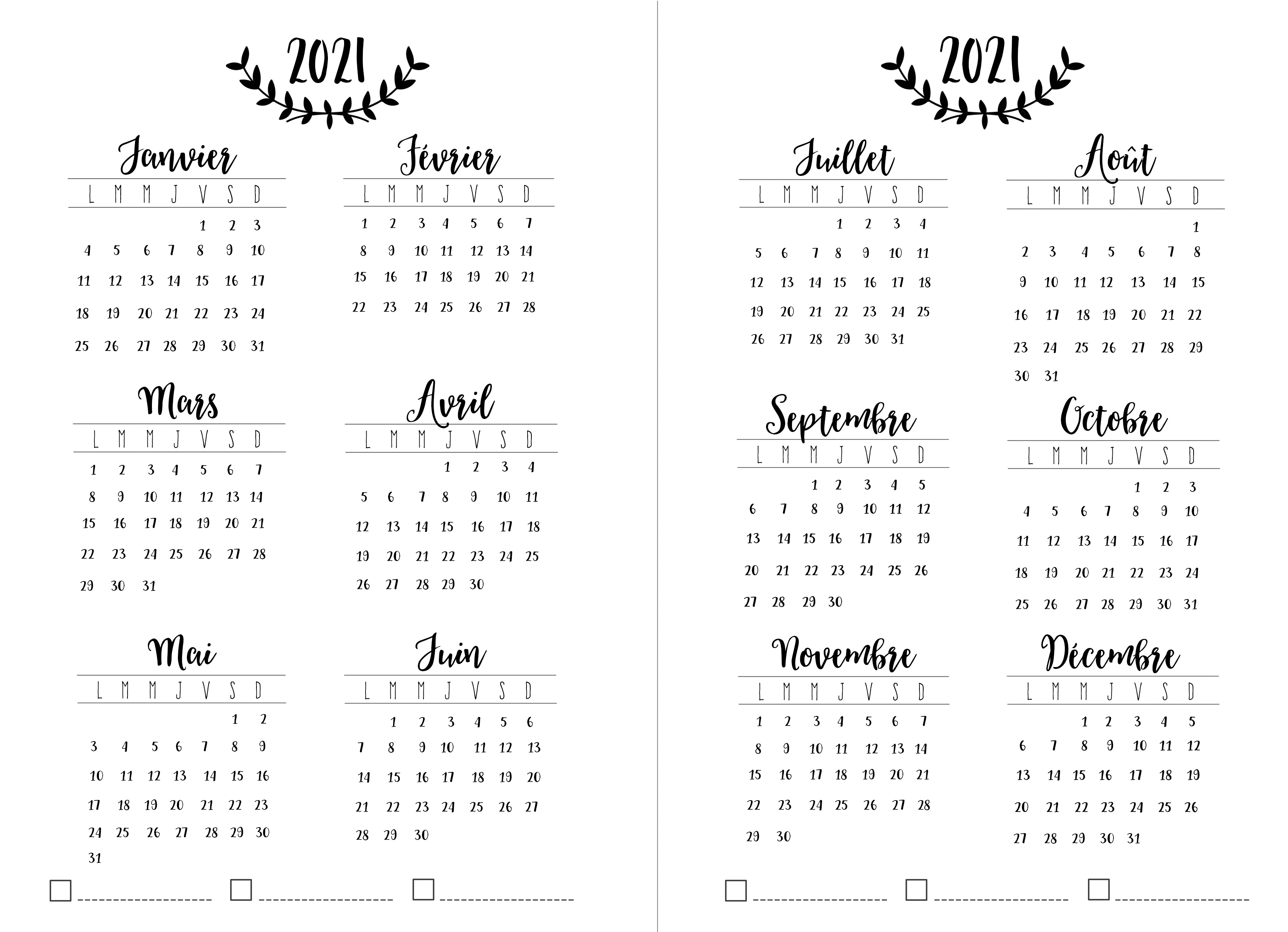 Calendrier 2021 Bujo Mon agenda façon bullet journal   Couturaddict